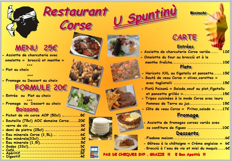 Carte Corse Restaurant.Corsica Bio Nature Evenenents Agenda